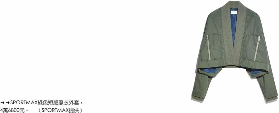 SPORTMAX綠色短版風衣外套,4萬6800元。(SPORTMAX提供)