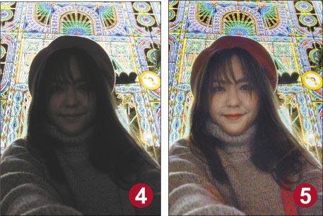 夜間拍攝容易導致人臉黑掉的情況,照片噪粒較多。(修圖前、後見圖4、5,石欣蒨攝)