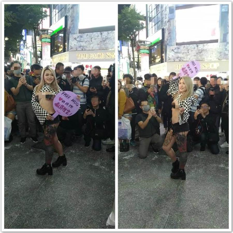 網紅模特miya在西門町舉辦「Free Hug」活動,吸引許多男性圍觀拍照,但無人敢上前擁抱 (圖/翻攝自爆廢公社)