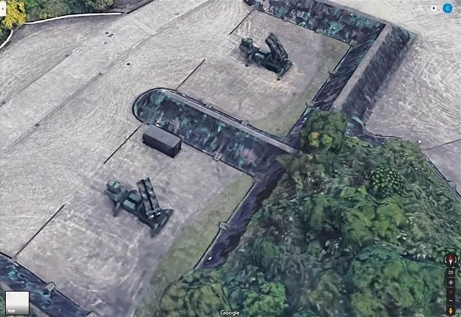 愛國者飛彈在3D地圖上立體呈現。(擷圖自Google maps)