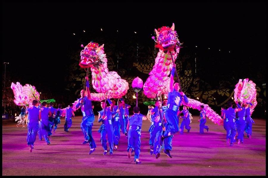 日月潭文武廟,21日晚間將有浙江百葉龍與九獅圖的精采表演。(南投縣政府提供/沈揮勝翻攝)