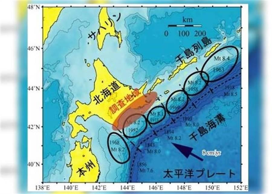 日本地震預知總合研究振興會研究千島海溝的地震活動。(圖/擷自東網)