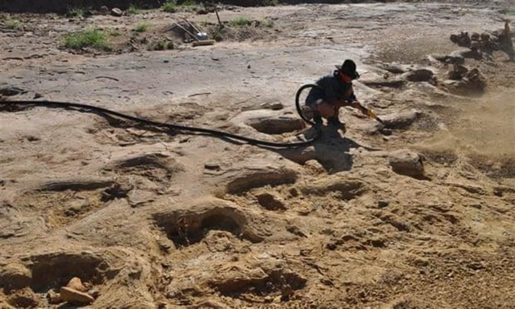 而當地考古學家,之後在Karoola附近河床,發現3種不同品種恐龍留下的腳印(圖翻攝自/theguardian)