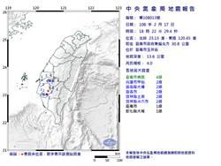 18:22突然一震!台南規模4.0地震 最大震度4級