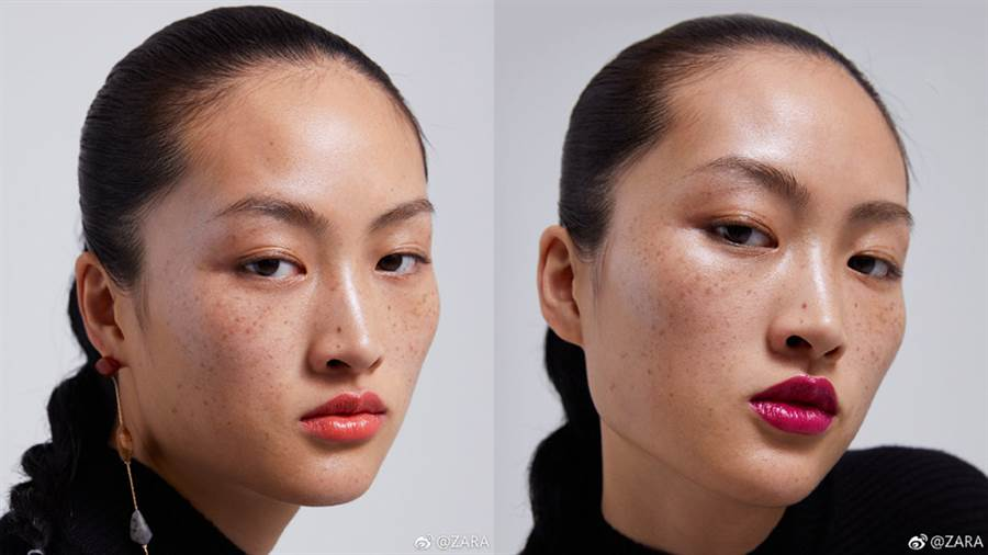 李靜雯於宣傳照中並沒有特別修飾臉上的雀斑,意外引發中國網友筆戰。(圖/微博@ZARA)