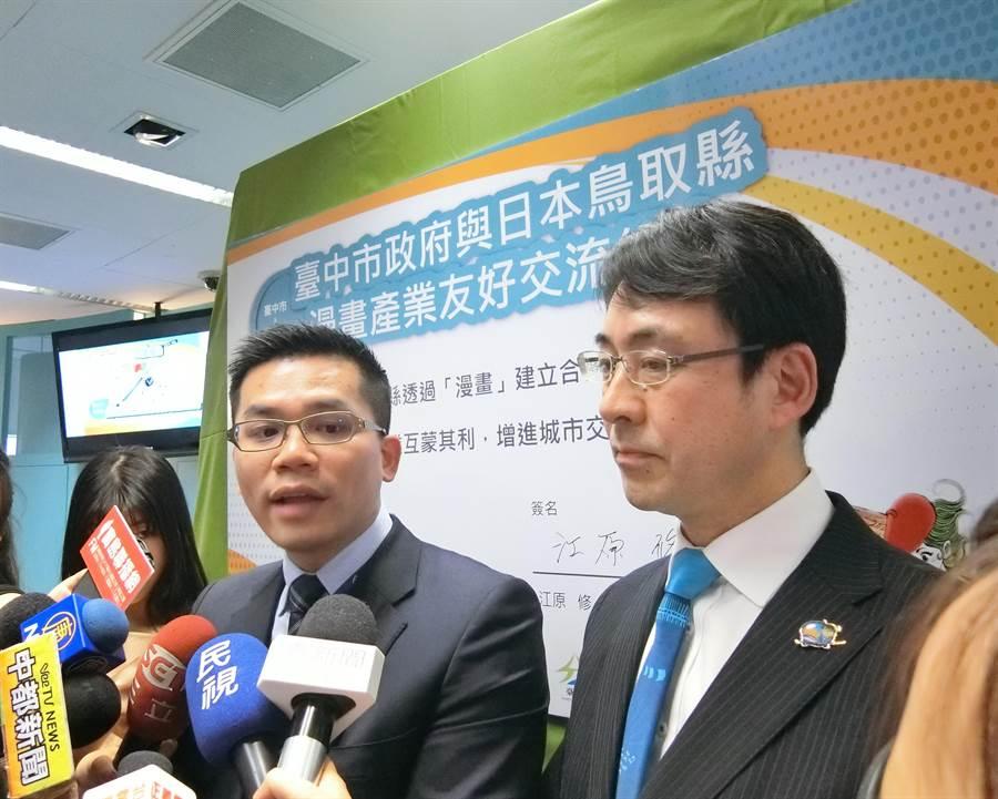 台中市府新聞局長吳皇昇表示,台中市與日本鳥取簽署漫畫友好交流,台中市將打造為「漫畫之城」。(盧金足攝)