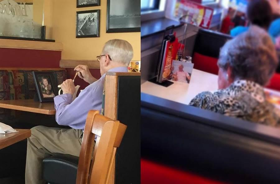 國外還曾有老年人,將過世老伴的照片隨時帶在身上,用餐時拿出來邊看邊吃(圖翻攝自/boredpanda)