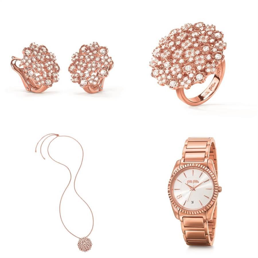 翩然綻放的花朵,925純銀鍍以玫瑰金,鑲嵌入方形切割的鋯石,帶來溫柔迷人的氣息,讓風象星座們更顯優雅,招來好桃花。腕錶玫瑰金錶框帶有希臘古典風格的設計細節,可選擇玫瑰金鍊帶或是粉膚色皮革錶帶,手腕上一抹粉嫩的點綴,為戀愛運加持。(圖/Folli Follie)