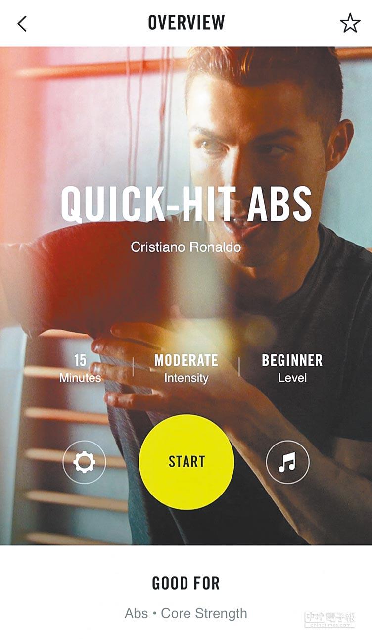 《Nike Training Club》APP大受網友好評,可設定個人化運動計畫是一大特點,先輸入有無器材裝備、每周運動次數、時間,還有運動中是否包含跑步等資料後,系統即會幫使用者制定適合的課程,只要跟著影片,從暖身、運動到冷卻、舒展完成動作,即算結束一次鍛鍊,如果佩戴的是Apple Watch,還能記錄每天活動量、運動時的心跳等數據。