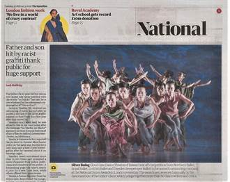 雲門登英國衛報頭版頭 打敗各大歐陸芭蕾舞團的台灣舞團