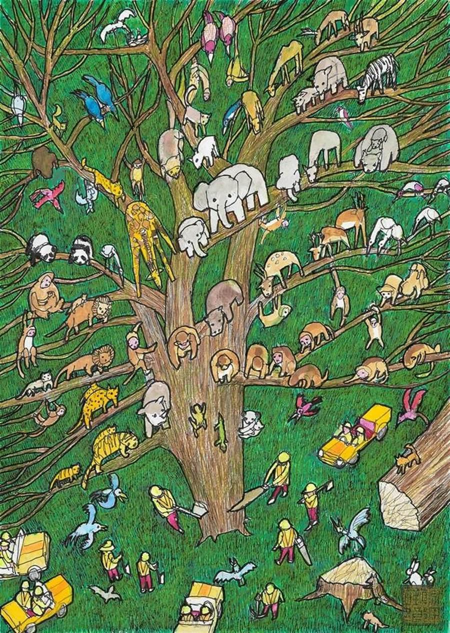 原田鎮郎作品-生命之樹。(台北市立動物園提供)
