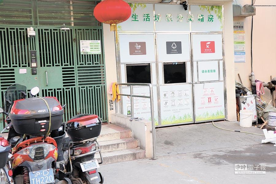 為深入居民垃圾分類,上海許多小區樓下都已建構類似的分類回收房。(記者吳泓勳攝)