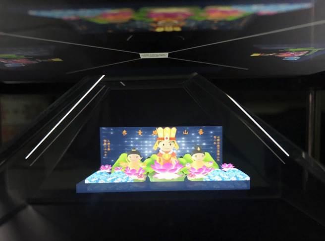 龍華科大承接桃園市安東青創基地,並製作3D全息投影,為今年桃園燈會留下3D數位紀錄。(賴佑維翻攝)
