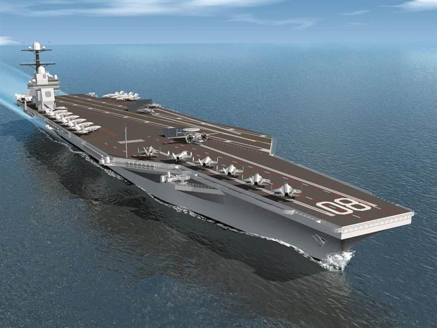 美國第3艘福特級航母「企業」號(USS Enterprise,CVN 80)的示意圖。(美國海軍/亨廷頓英戈爾斯工業公司)