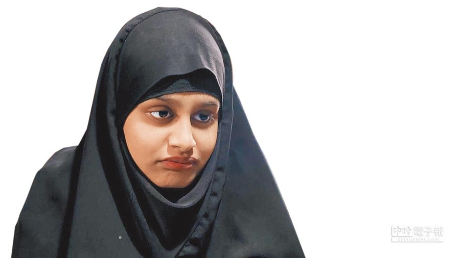 現年19歲的英國少女貝根,2015年蹺家前往敘利亞投奔伊斯蘭極端組織伊斯蘭國(IS),成為聖戰士小新娘。(Shamima Begum,翻攝自英國天空電視台畫面)