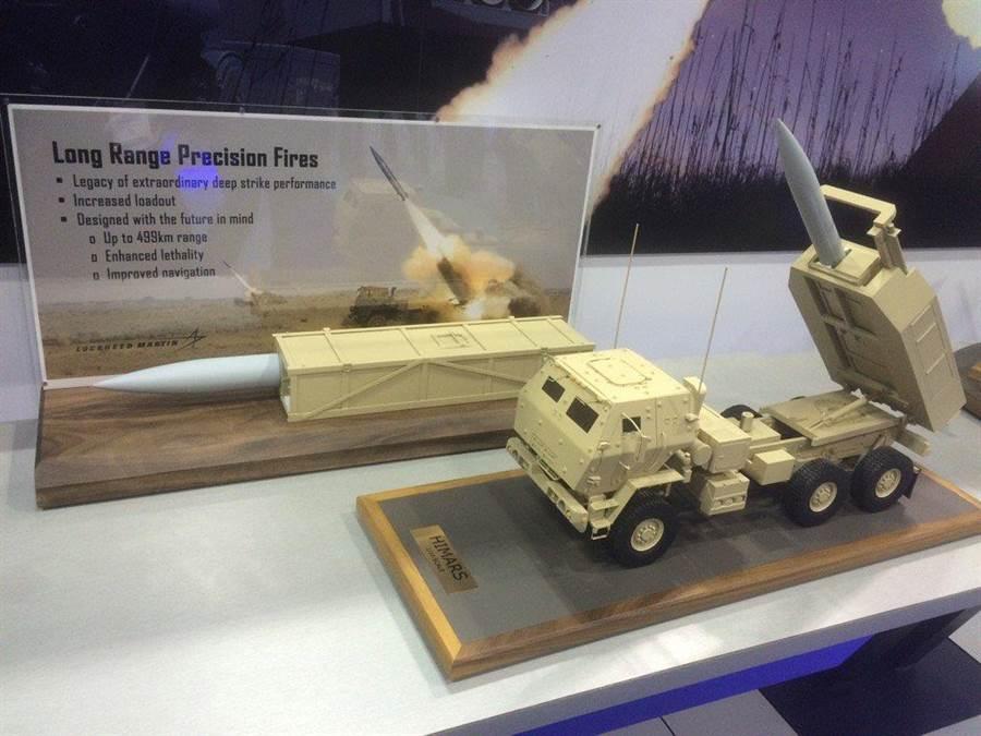 洛馬公司研製的以HIMARS高機動火箭砲系統發射的長程精確火力LRPF戰術彈道導彈模型。(圖/推特@SydneyFreedberg)