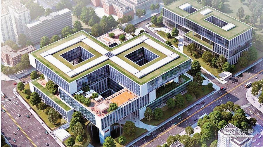 2017年9月8日在成都市武侯區開工奠基的京東西南總部基地一期專案效果圖。