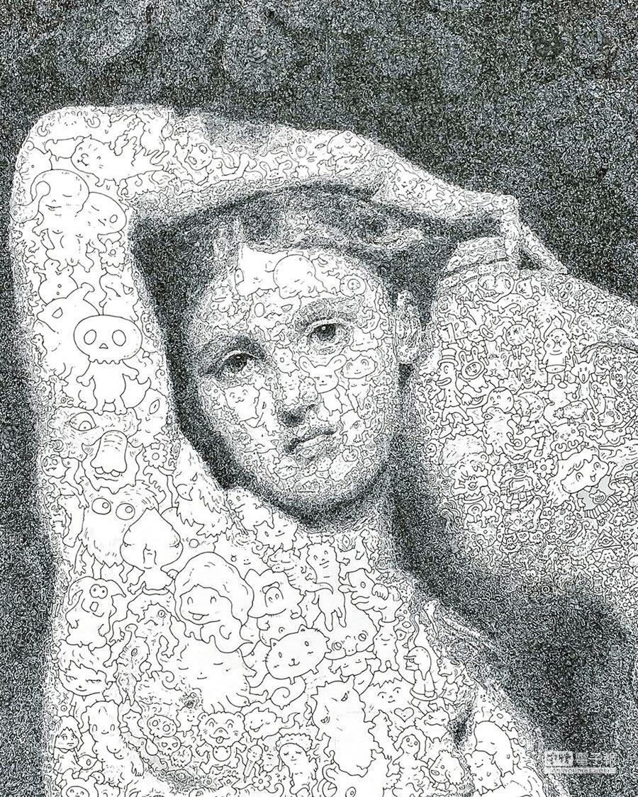 佐垣慶多的《女力之泉》由細節可看出仕女由大量漫畫元素組成。(多納藝術提供)