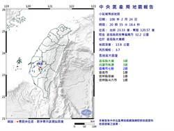 有感!20:55嘉義大埔規模3.7地震 高雄最大震度3級