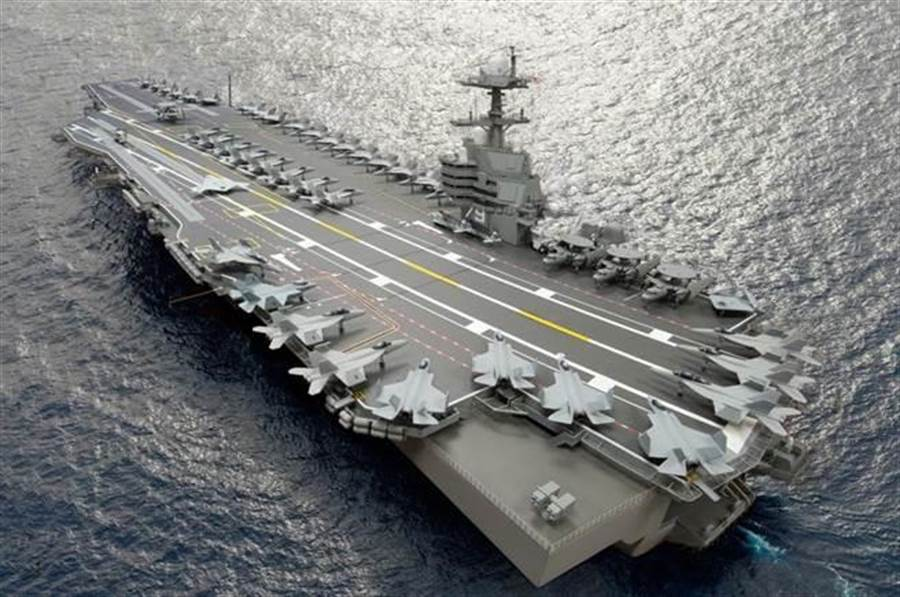 美國仍在打造的最新航母「甘迺迪」號預定最晚可在2022年交付海軍,圖為藝術家筆下的「甘迺迪」號。(美國海軍)