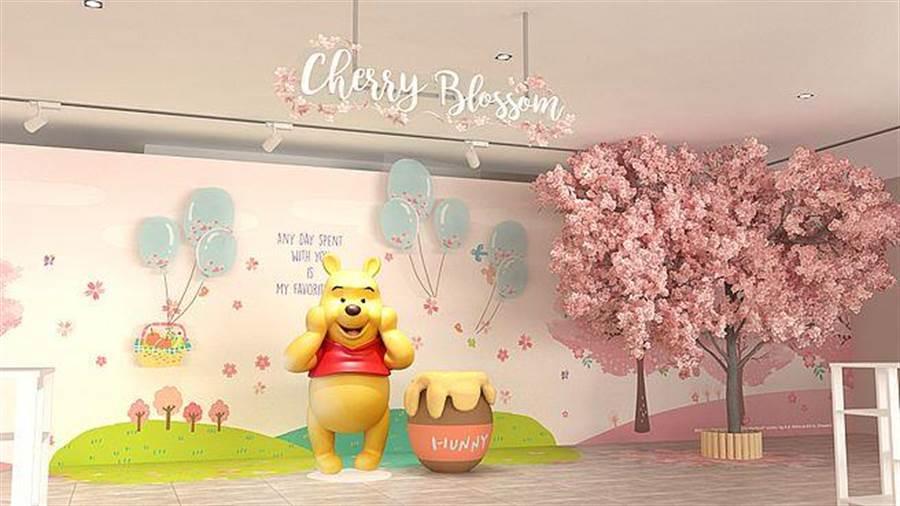新光三越台中中港店_小熊維尼與櫻花樹場景。(台灣華特迪士尼提供)