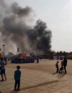 台灣燈會宗教燈區起火 濃煙密布10分鐘撲滅