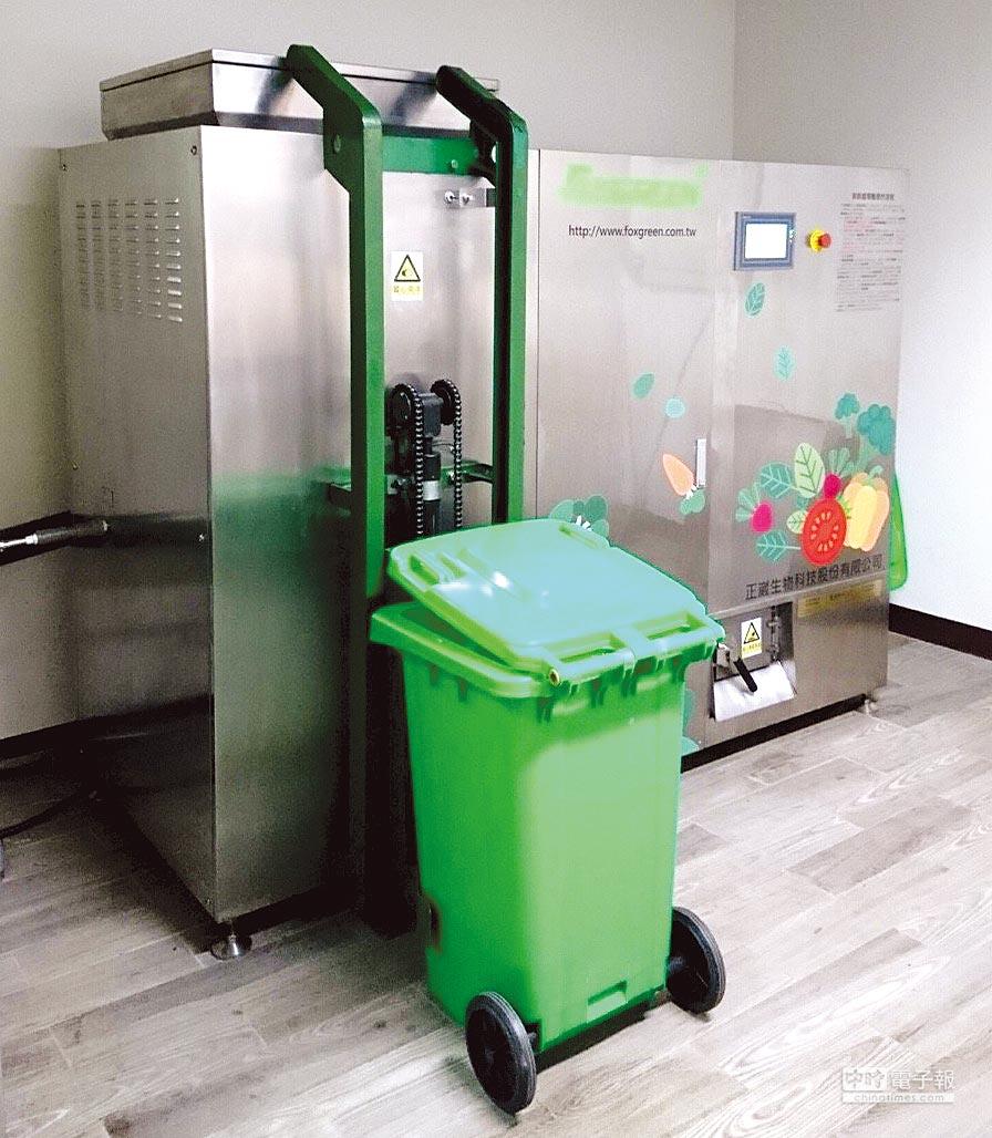 正崴生物科技推出的廚餘處理機,讓廚餘處理達到資源化、無害化、利潤最大化的目標。圖/業者提供