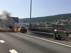國道1號三義路段火燒車 車輛回堵近7公里