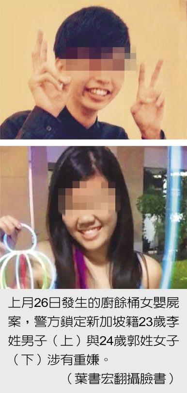 上月26日發生的廚餘桶女嬰屍案,警方鎖定新加坡籍23歲李姓男子(上)與24歲郭姓女子(下)涉有重嫌。(葉書宏翻攝臉書)