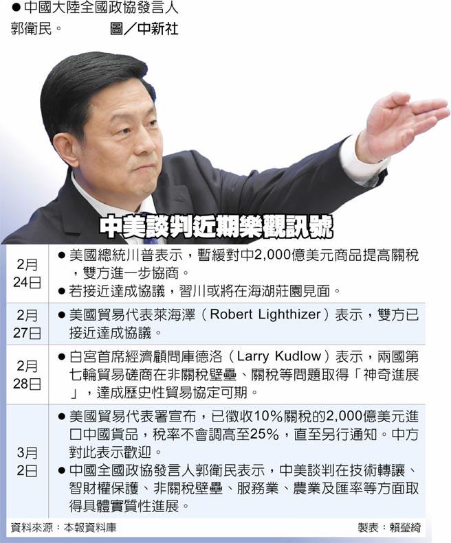 中美談判近期樂觀訊號中國大陸全國政協發言人郭衛民。圖/中新社