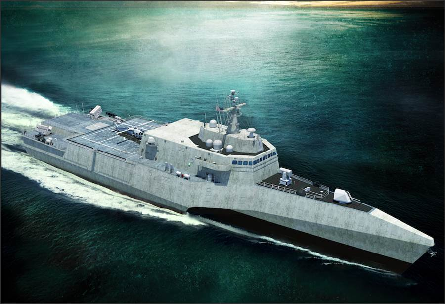 美海軍認小型巡防艦必須具備成為機器人艦艇指揮艦的功能。圖為類似獨立級瀕海戰艦的小型巡防艦方案。(圖/美國海軍學院新聞網)