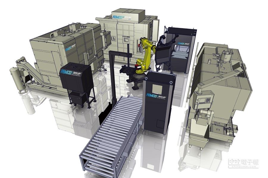 遠東機械鋁輪圈智動化生產線可為用戶提供各種生產製程解決方案。圖/業者提供
