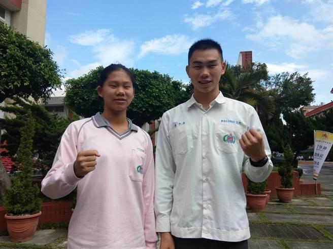 專攻鐵人三項的兄妹檔潘子易(右)、潘昱婷(左),是花蓮體壇熠熠紅星。(范振和攝)