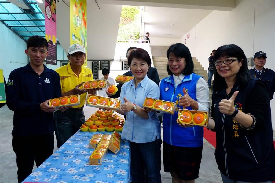 台中市長盧秀燕(右三)、市議員冉齡軒等推薦東勢生產的優質茂谷柑。(王文吉攝)