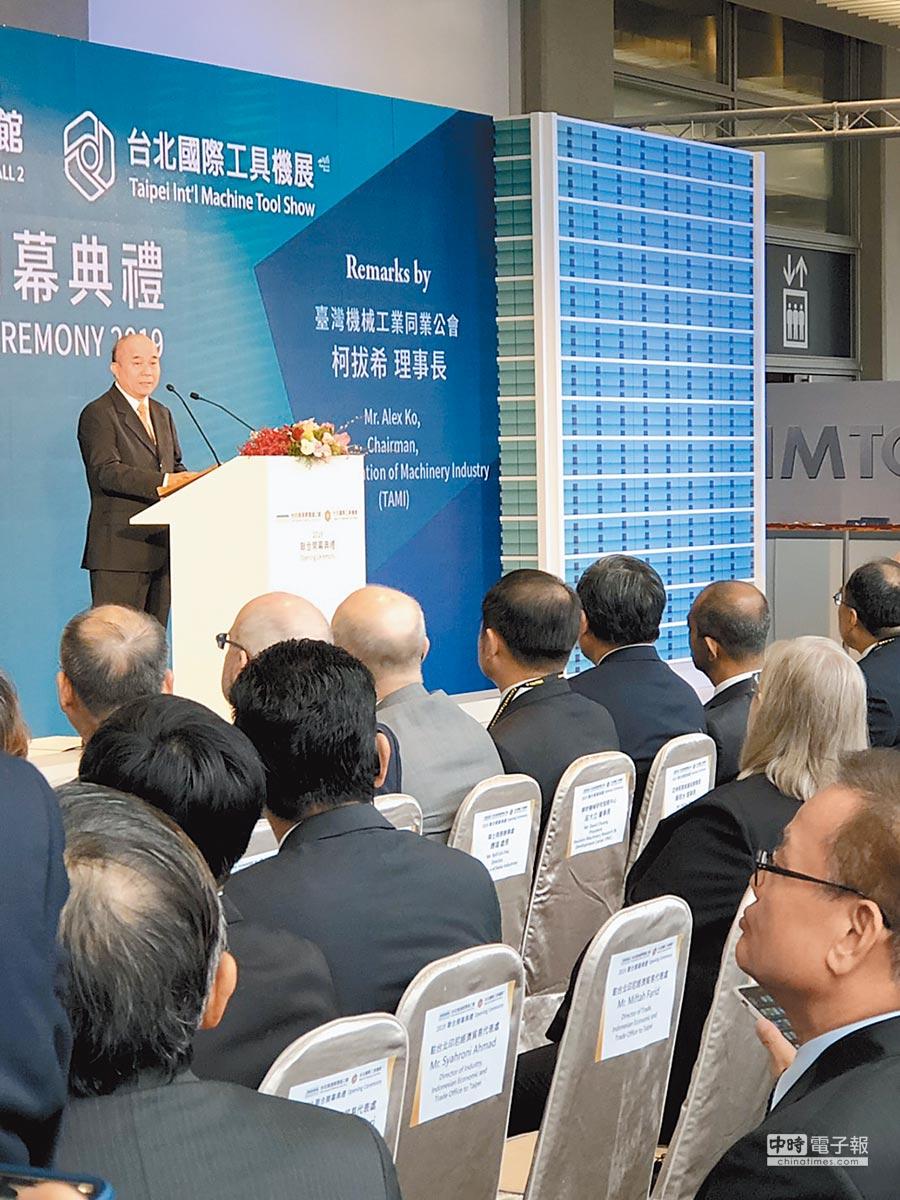 台灣機械工業同業公會理事長柯拔希。(記者林汪靜攝)