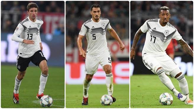 德國足協在推特上宣布,國家隊將不再徵召穆勒(左起)、胡莫斯、博阿騰3位資深老將。(推特翻攝)