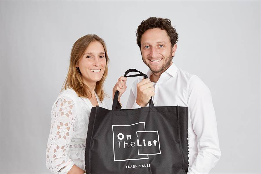 OnTheList創辦人Delphine Lefay (左)、Diego Dultzin Lacoste開心合影。(OnTheList提供)