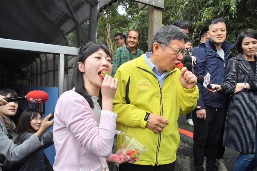 台北市長柯文哲(前右)、市議員高嘉瑜(前左)。(中央社)