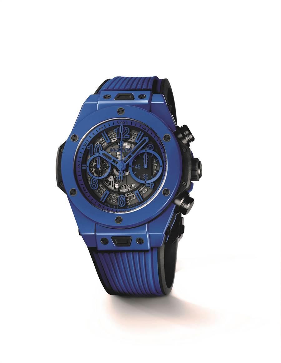 宇舶表Big Bang Unico 魔力藍陶瓷計時碼表,限量500只,61萬5000元。(HUBLOT提供)