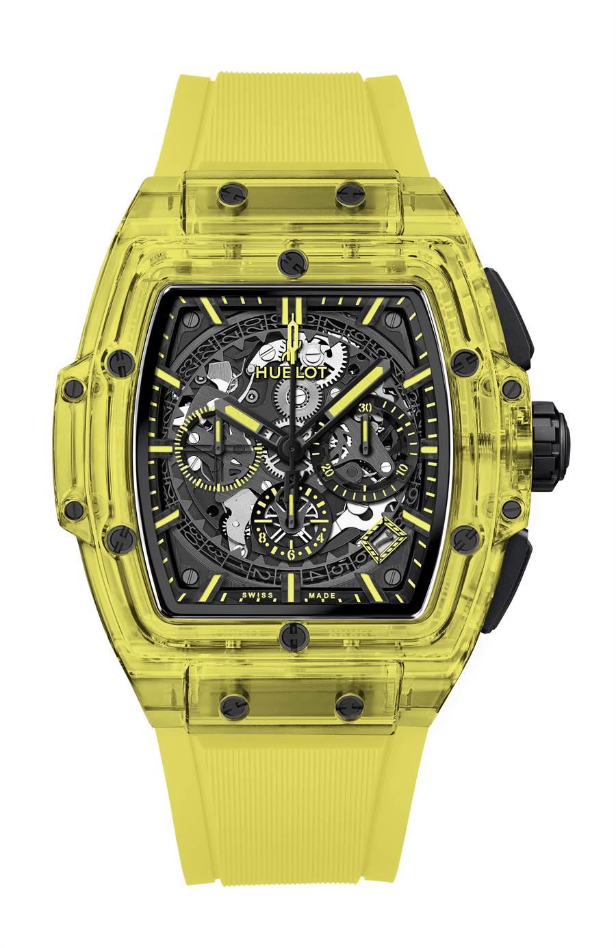 宇舶表全球首只SPIRIT OF BIG BANG 黃色藍寶石計時碼表,限量100只,327萬元。(HUBLOT提供)