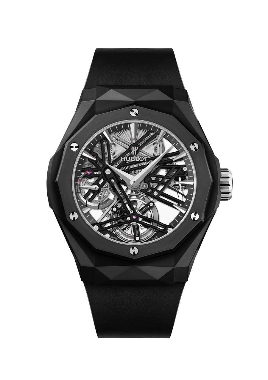 宇舶表經典融合系列ORLINSKI 黑陶瓷陀飛輪五日鍊腕表,278萬元。(HUBLOT提供)