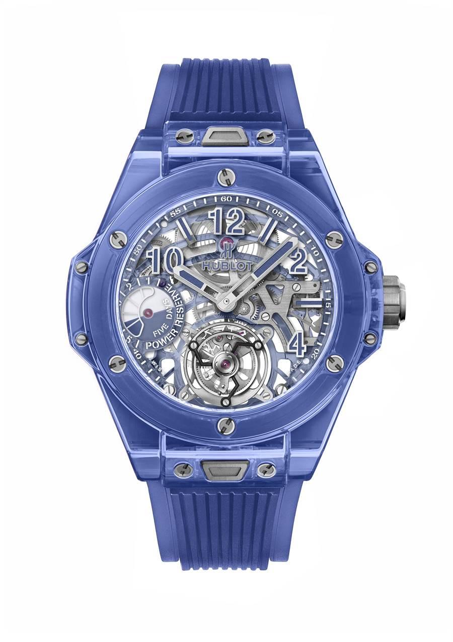 宇舶表Big Bang 藍色藍寶石陀飛輪五日鍊腕表,539萬6000元。(HUBLOT提供)