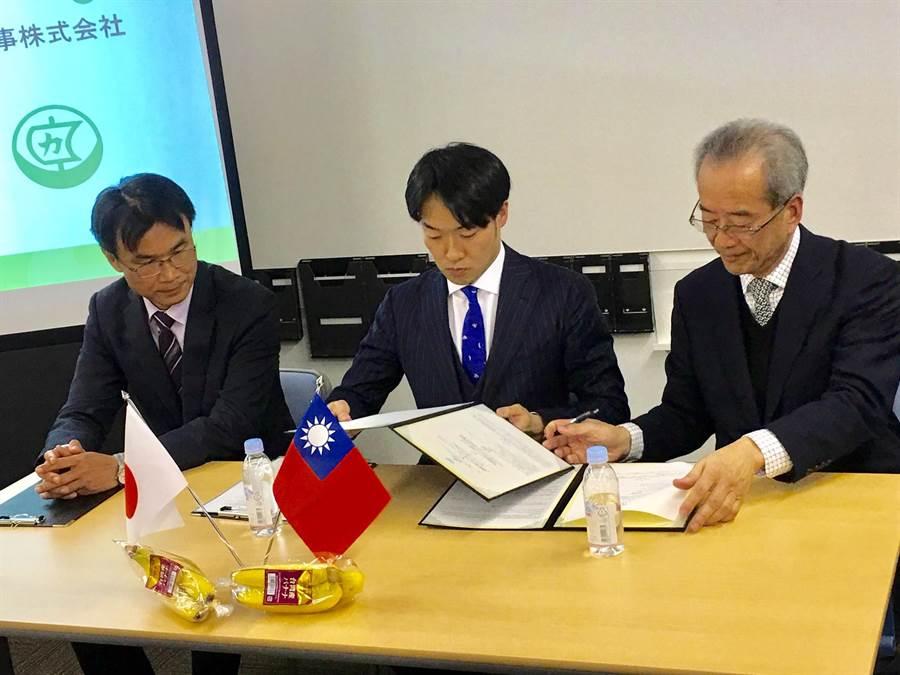 台農發董事長陳郁然(右)與日本船昌社長關野貴文於貿協東京辦事處簽署採購MOU/圖/李麗滿