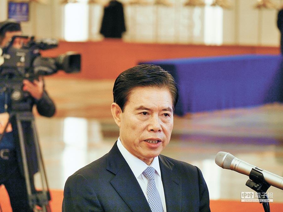 大陸商務部長鐘山表示,中美已延長磋商期限,期限內不加徵關稅。(記者張國威攝)
