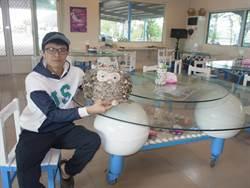 馬蹄蛤主題館回收浮筒再利用 浮筒餐桌有創意