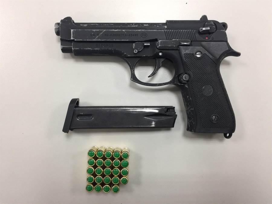 警方起獲改造槍枝及9發子彈。(陳鴻偉翻攝)