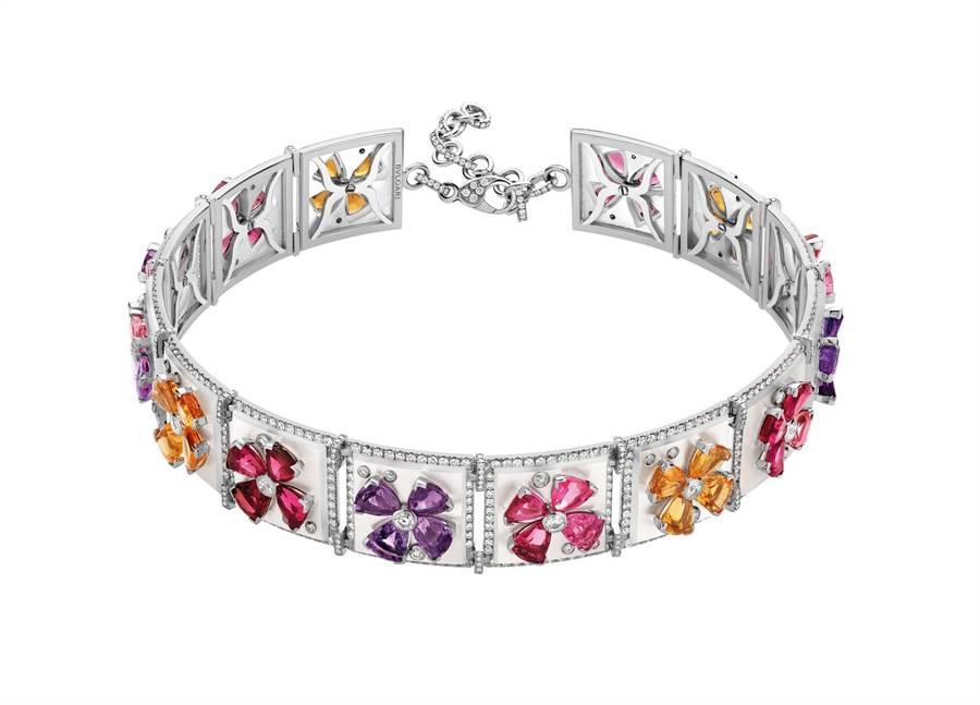 寶格麗Wild Pop ANDY WARHOL Pop Flowers頂級彩寶項鍊,以安迪沃荷的普普風花朵作為珠寶主題。(BVLGARI提供)