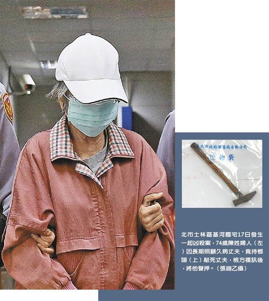 74歲陳姓婦人因擔心久病的先生無人照顧,竟持鐵榔頭殺害先生,士林地檢署偵結,依殺人罪提起公訴。(報系資料照)