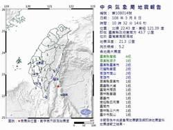 台東外海規模5.2地震 蘭嶼4級最搖