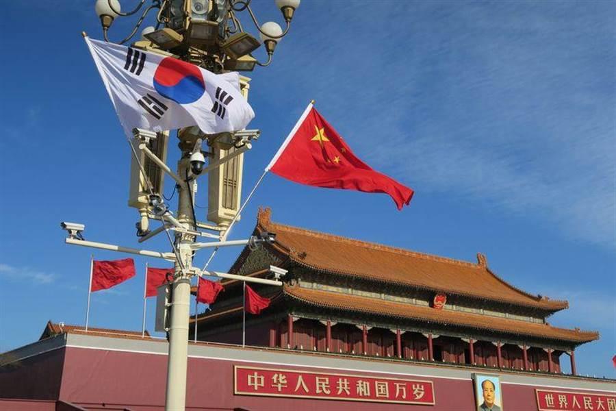 天安門廣場前懸掛的陸、韓兩國國旗。(圖/中央社)